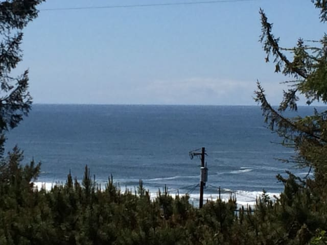View of the ocean from the deck.