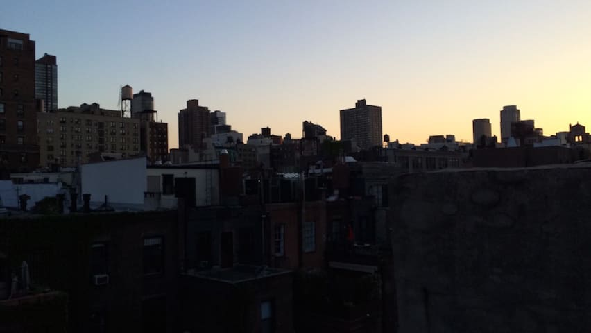 NYC skyline at dusk-- our view from the terrace.