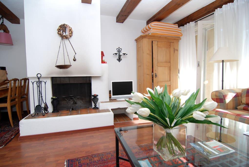 wohnung mit kamin u balkon davos wohnungen zur miete in. Black Bedroom Furniture Sets. Home Design Ideas