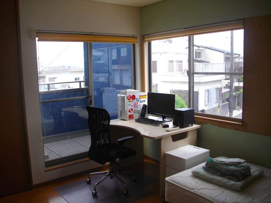 Desk and Balcony