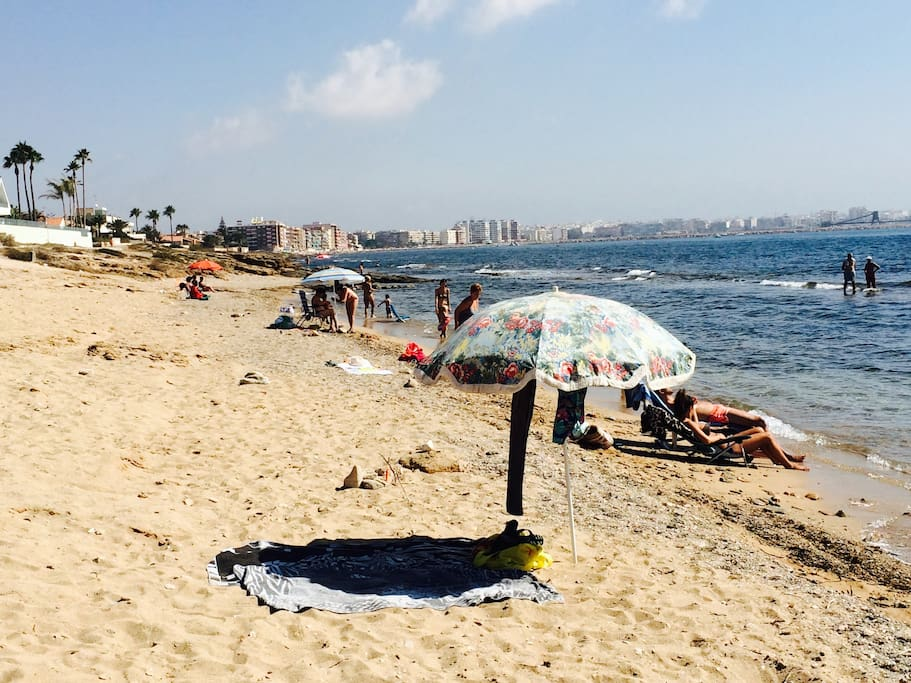 Closest beach, Torrevieja center in the background.