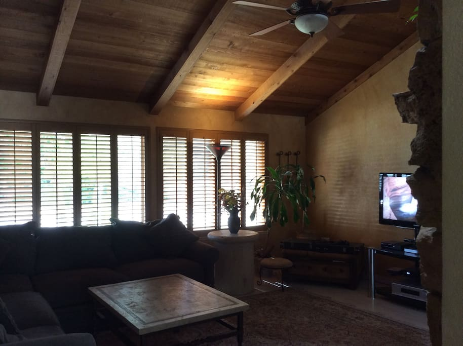 Family Room, wood beam ceilings