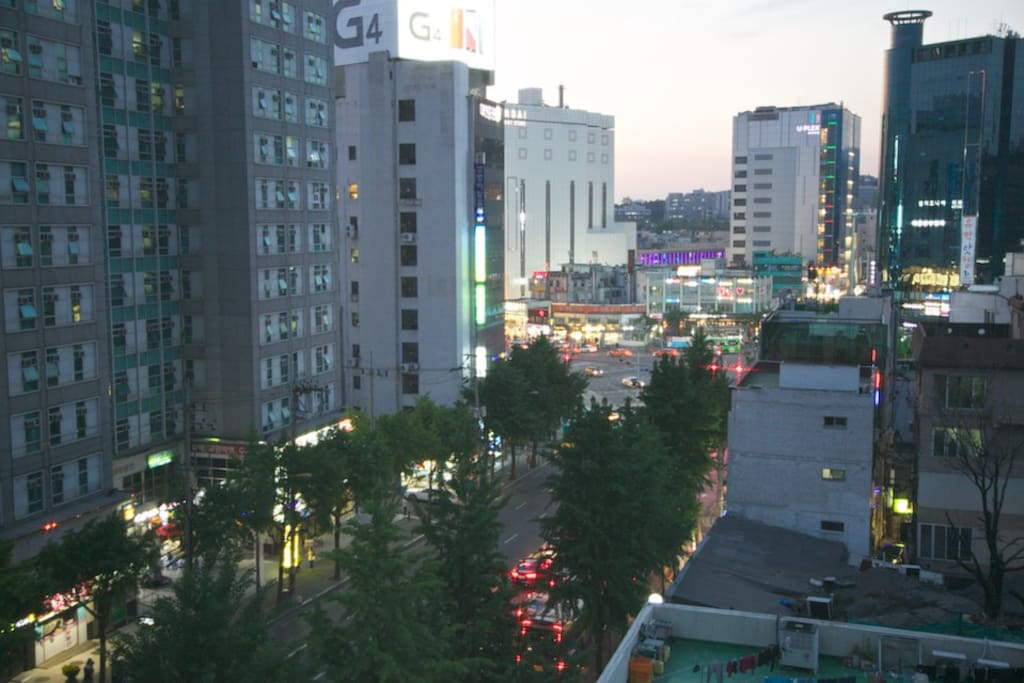 Typical evening window view overlooking Sinchon rotary
