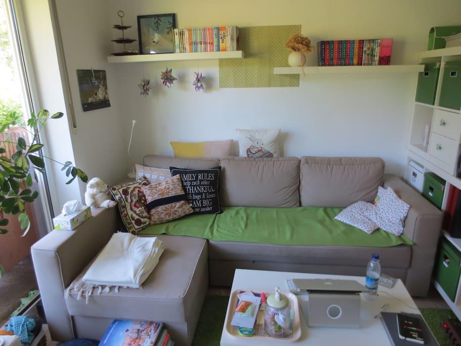 Schlafcouch im Wohnzimmer, passend für 2 Personen.