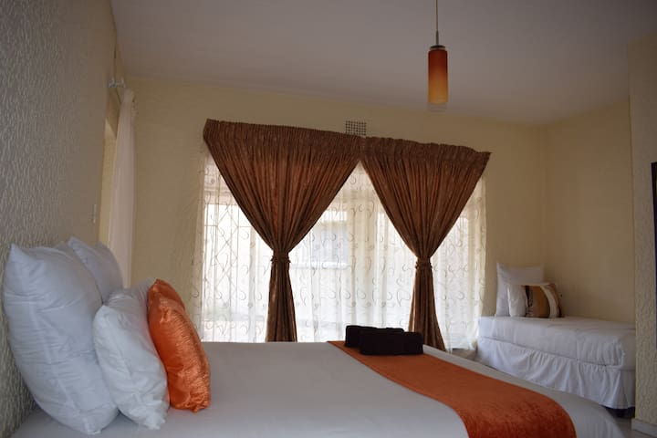 Double bed with single bed