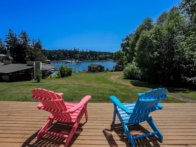 Sit on the Adirondack chairs and take in the bay views.