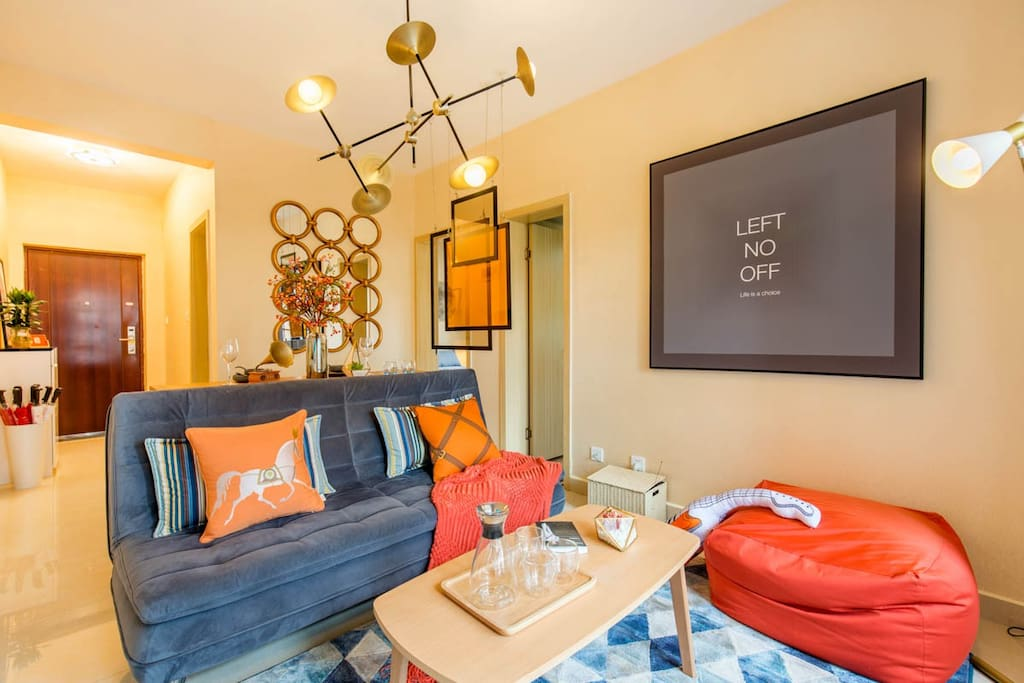 橙色复古的音乐元素客厅