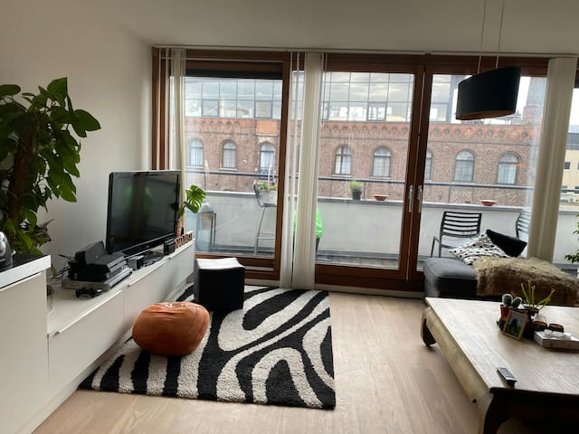 Very spacious living room with huge windows, sun throughout the day ☀️