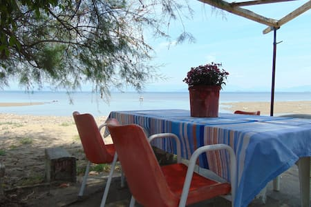 Beach front quiet, secluded family apartment 2-4p - Perivoli