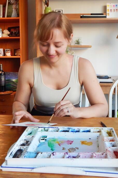 Painting in my studio.