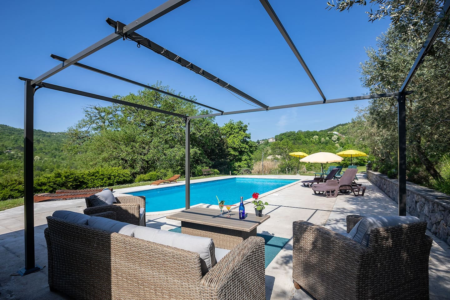 Pool & Lounge.. only few steps from your suite, surounded with olive & oat trees. Pool is 5 x 10 meters large, ideal for swimming