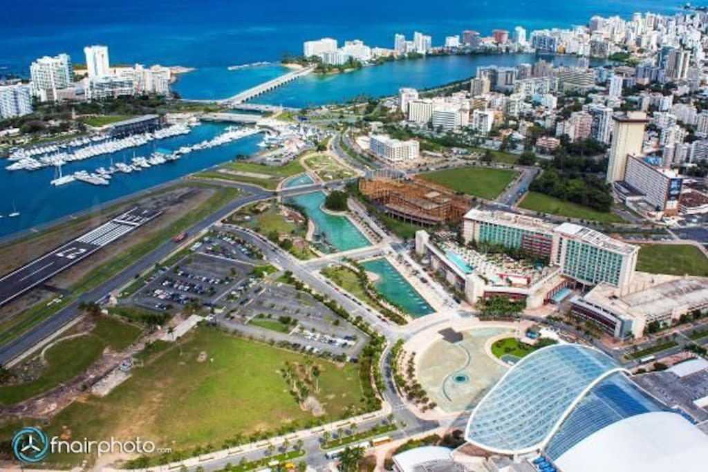 Convention Center, condado, san juan Bay, Hyat and Sheraton. THE CONDO is located in the tall building at your right. One block from Hyat and Convention Center.