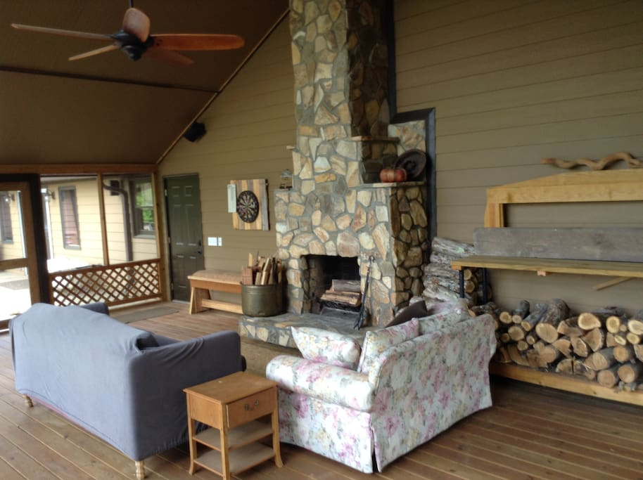 Screened in porch with fire place