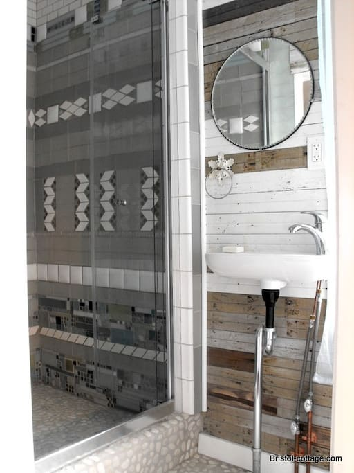 custom shower  with reclaimed wood