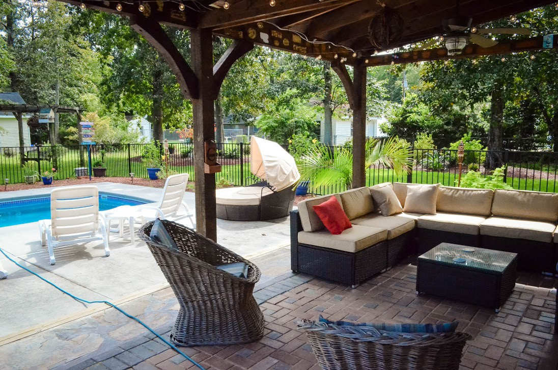 Entertaining Patio With TV, Sound System For Music And Plenty Of  Comfortable Seating.