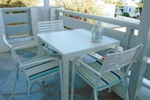 The furniture in the terrace of the apartment