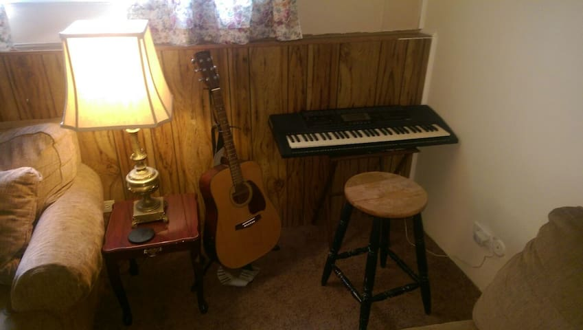 If you play the piano or the guitar there's no need to miss practicing here!