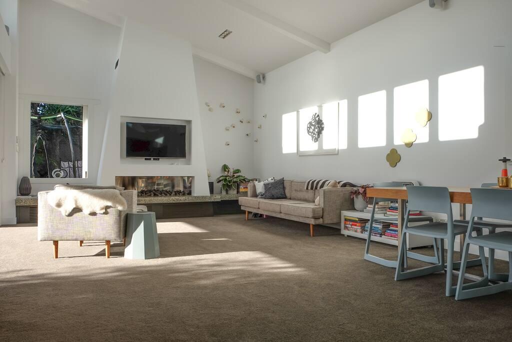 The Lounge has a gas fireplace, Netflix TV,