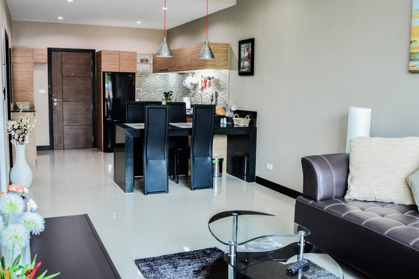 Bright open space living room & kitchen