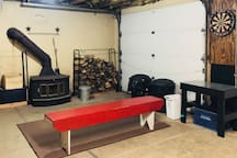 The garage is  great place to play darts and hang by the fire.
