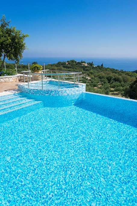 The pool with part of the view to Ionian Sea
