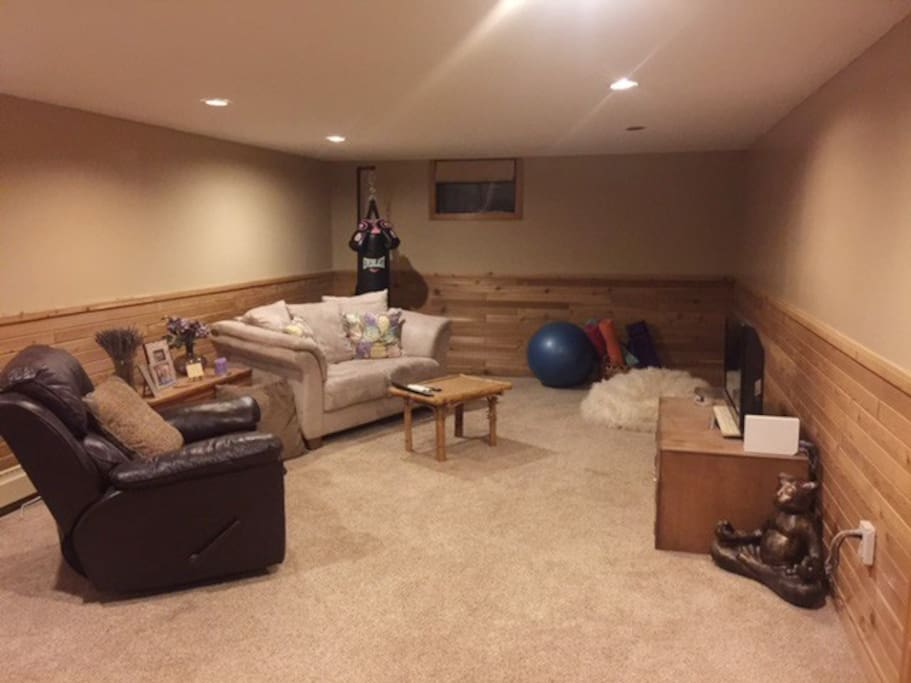 Lounge in the private basement family room, with a TV and wifi access. We also have exercise equipment and yoga mats for you to use.