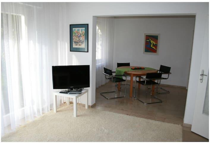 Wohnzimmer mit TV  (und Blick in das Esszimmer ; links im Bild:  Glastür zum Garten )