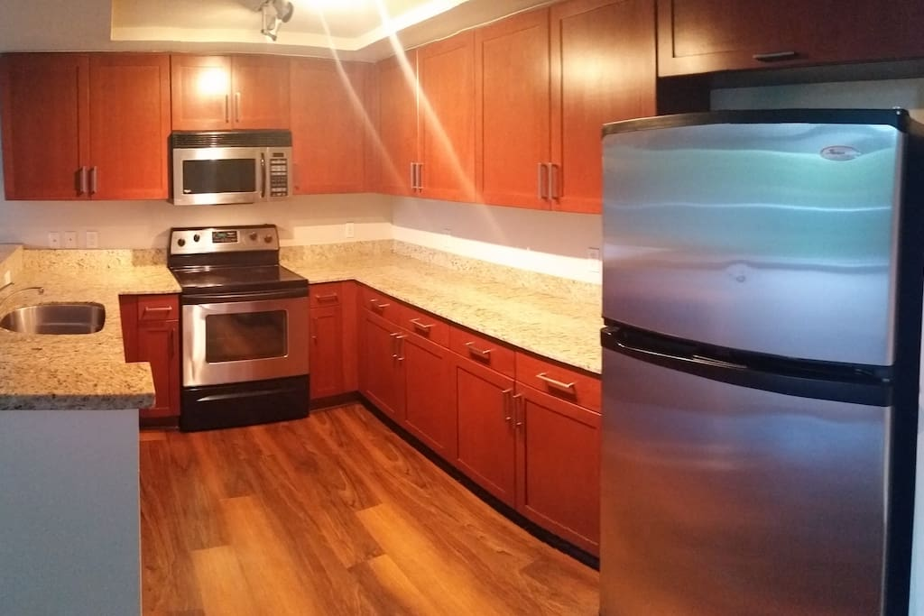 extra large kitchen with upgraded stainless steel appliances and granite countertops
