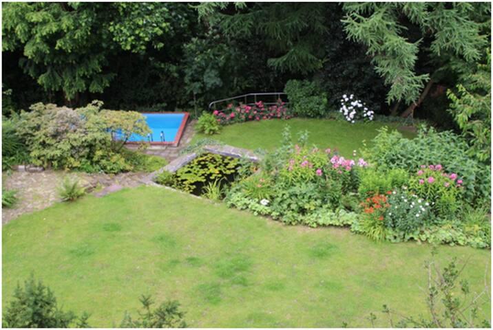 Blick in den Garten  (im Sommer ; mit Fischteich, Pool und Wald im Hintergrund)