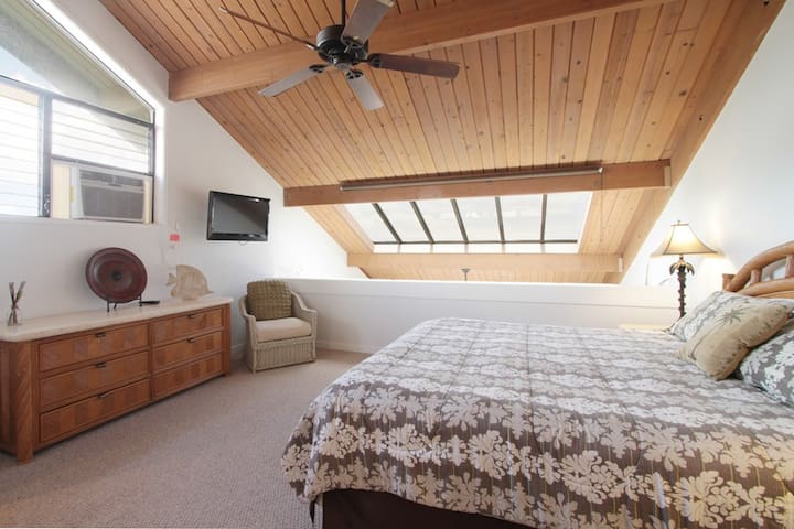Upstairs bedroom with skylights