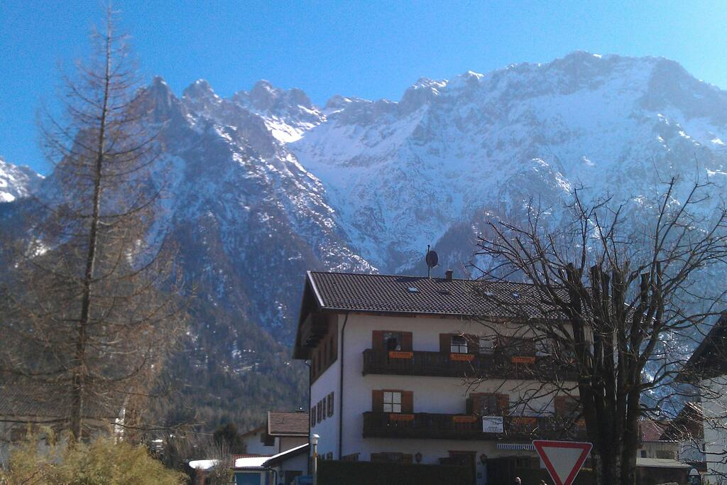 View of Karwendelspitze above the apartment building - mid-March