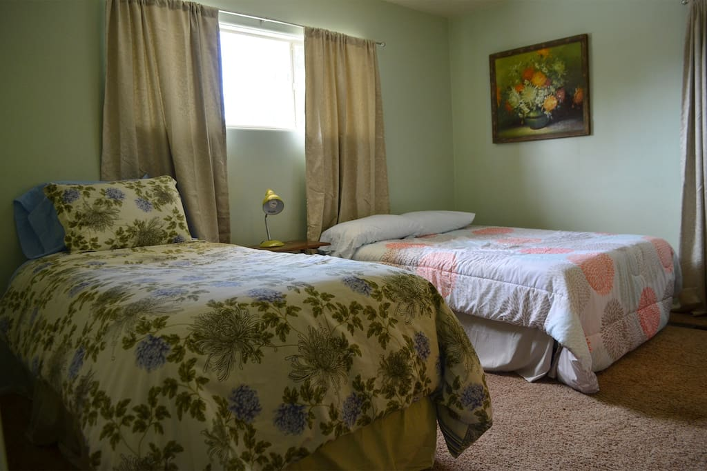 Second bedroom with full size bed and twin bed.