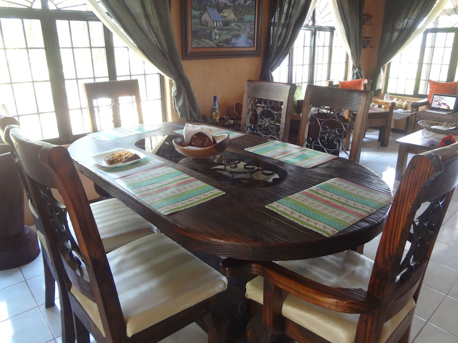 Have a Typical Costa Rican Breakfast in our Dinning Room table
