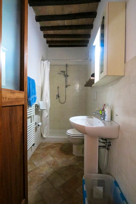 Clean light bathroom with sink, toilet & shower.
