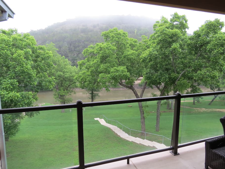 View of the Guadalupe from the spacious covered balcony.