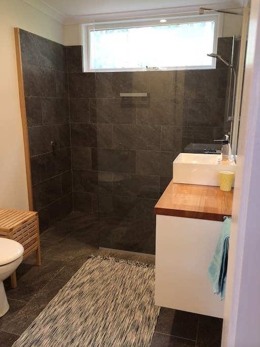 Brand new bathroom with walk in shower and Euro laundry.