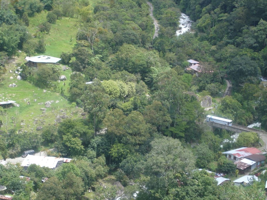 Aerial view of yurt and surrounding area.