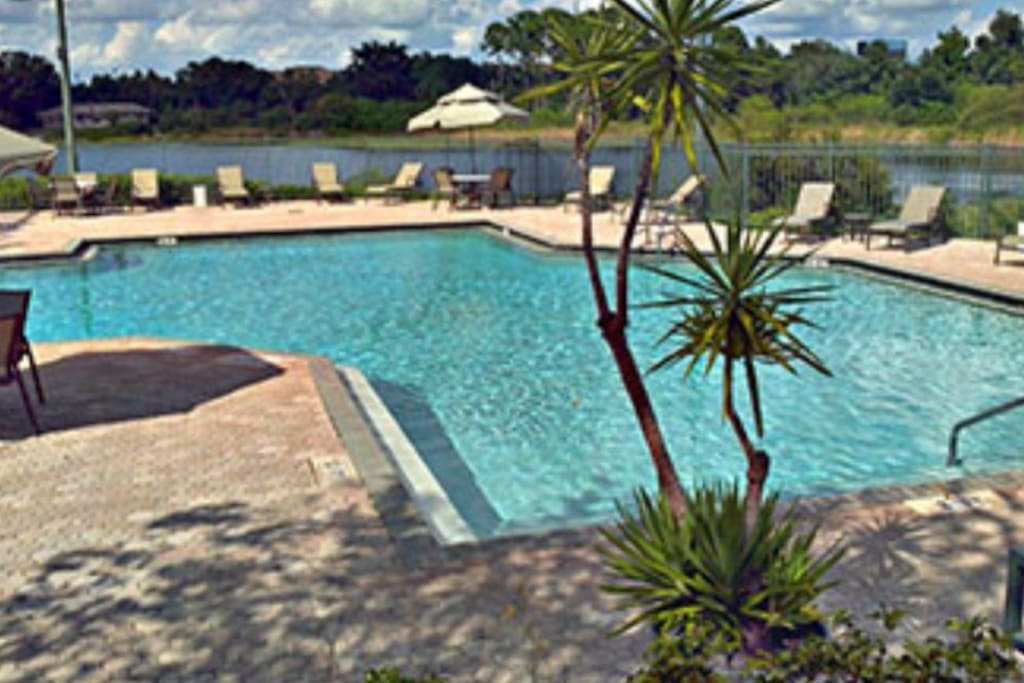 Community Lakefront Resort Style Pool and Lounge area.