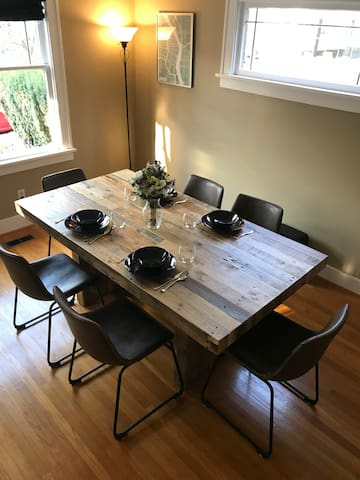 Dining table seats up to 6 comfortably.