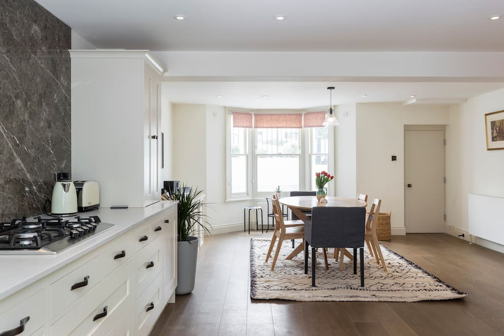 The kitchen and dining space