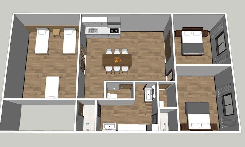 「401号室」大阪黑門市場2分鐘 日本橋站3分鐘「101 m² 三室一厅两卫两浴户型」 中文OK!