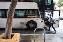 Most tech companies shuttle buses to Silicon Valley just a couple of blocks away on Market Street.