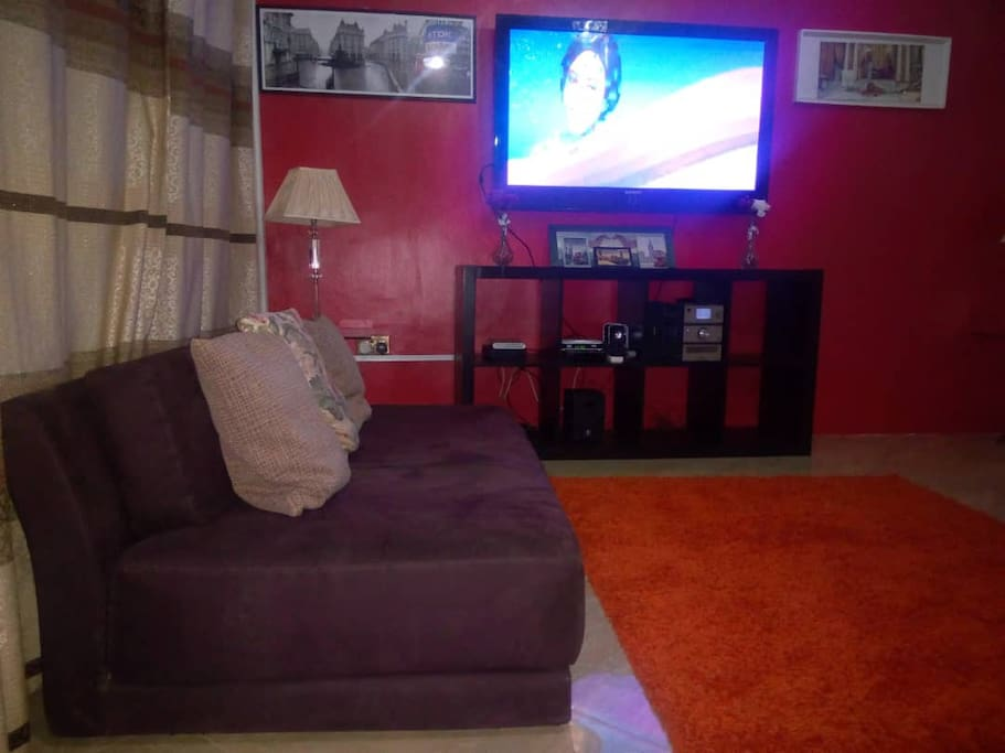 This Living room is spacious with cable TV /DSTV, for international and national channels, Stereo etc