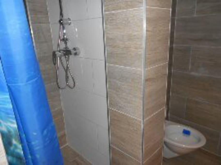 Dusche und Toilette am Flur