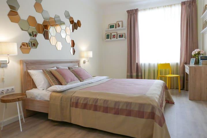 Stylish bedroom with warm lighting