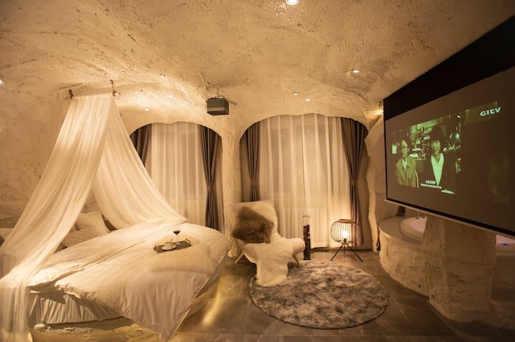 首家【Cave白羊座】圣托里尼洞穴民宿   每客消毒 超大圆床 双人圆形浴缸 拍照打卡零死角