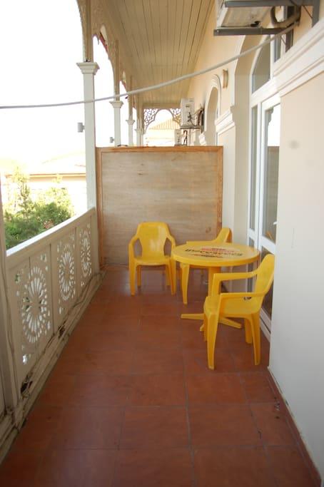 Room has private balcony