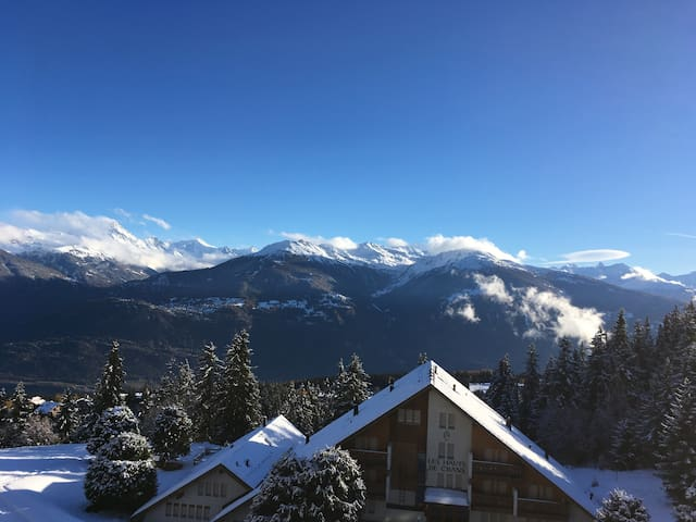 Stunning view over the Swiss Alps - Ski in & out - Montana - Lejlighed
