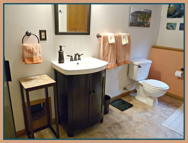 """Your private bathroom--sink, shower and toilet. Three steps from your bedroom. ......""""Superb experience, highly recommend. Quiet home, gracious hosts, very comfortable bed and all accommodations… Bathroom was huge and very clean.""""-- Nancy- 3-17"""