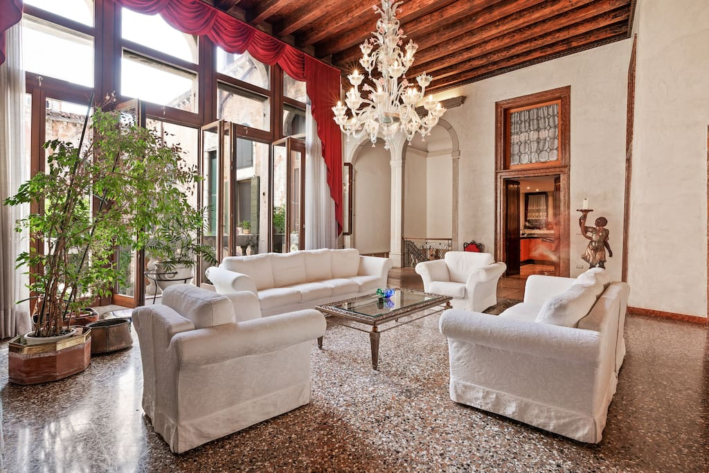 The elegant living room with the balcony